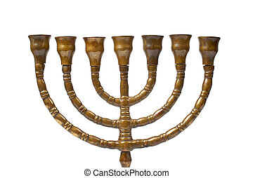Menorah - A Hanukkah Menorah isolated on white background