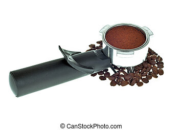 Coffee maker and beans isolated