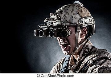 soldier man hold Machine gun style fashion