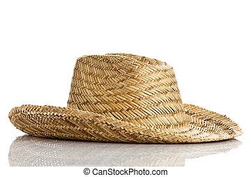 paja, blanco, sombrero, aislado, Plano de fondo