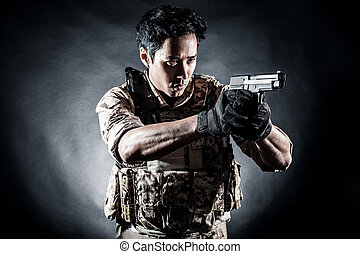 soldier man hold gun fashion - soldier man hold gun style...