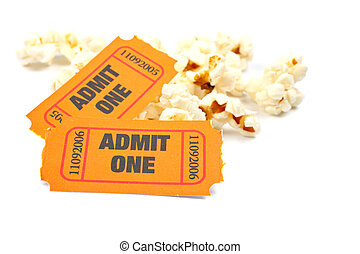 Popcorn and two tickets on white background with soft...
