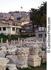 Agora with ruins in Konak region, Izmir, Turkey...