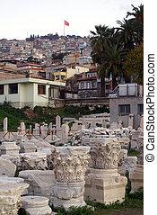 Agora with ruins in Konak region, Izmir, Turkey...