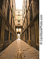 Barri Gotic - Gothic quarter in the morning. Empty alleyways...