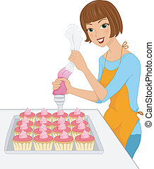 Cupcake Icing - Illustration of a Girl Applying Icing on...