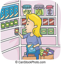Pantry Stockpile - Illustration of a Woman Stocking Her...
