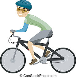 Bicycle Man - Illustration of a Man Dressed in Biking Gear...