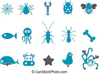 animais, ícone, jogo