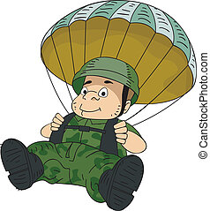 Paratrooper - Illustration of a Male Paratrooper Manuevering...
