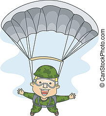 Paratrooper - Illustration of a Male Paratrooper with His...