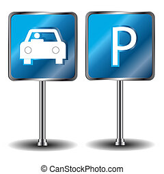 Car parking icons on a white background
