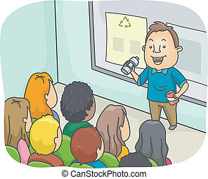 Recycling Lecture - Illustration of a Man Delivering a...