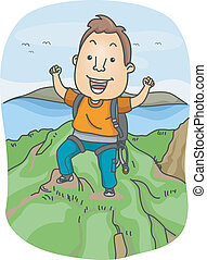 Mountain Climber - Illustration of a Man Dressed in Climbing...