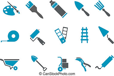 Tools icon set - Vector icons pack - Blue Series, tool...