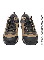 Hiking boots - A pair of hiking boots over a white...