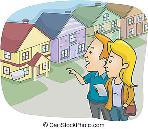 House Hunting - Illustration of a Couple Checking Out...