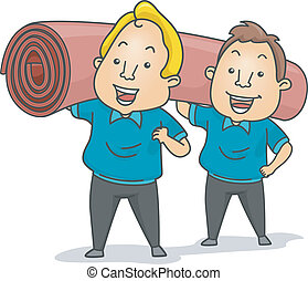 Carpet Installers - Illustration of Carpet Installers or...