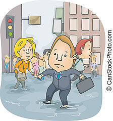 Flooded City - Illustration of People Wading Through...