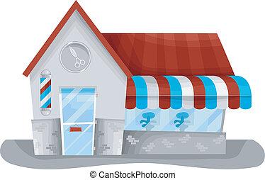 Barber Shop - Illustration of a Barber Shop Displaying the...