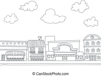 Cityscape Coloring Page - Black and White Illustration of...