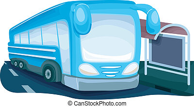 Bus Stop - Illustration Featuring a Modern Looking Bus...