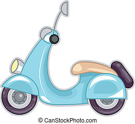 Scooter - Illustration Featuring a Stylish Blue Scooter