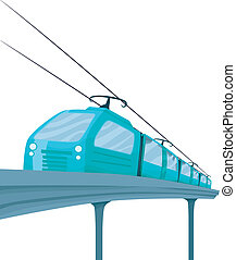 Train - Illustration Featuring a Stylish Blue Electric Train