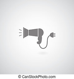 Hair dryer symbol on white background