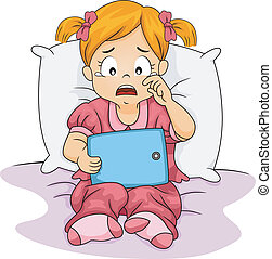 Crying Tablet Girl - Illustration of a Little Girl Crying...