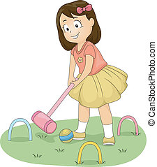 Croquet Girl - Illustration of a Little Girl Hitting a Ball...