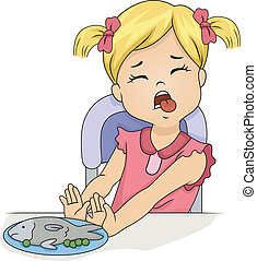 Finicky Kid - Illustration of a Grossed Out Little Girl...