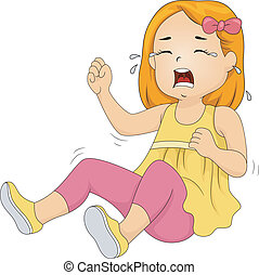 Girl Throwing Tantrum - Illustration of a Little Girl...