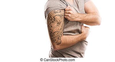 homem, tatuagem