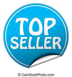 top seller round blue sticker on white background