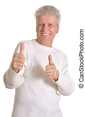 Aged man pointing - Mature man pointing with his finger at...
