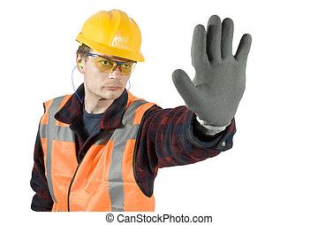 Stop - ear plugs goggels and protective gloves giving a stop...