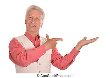 Elderly man pointing with fingers - Mature man pointing with...