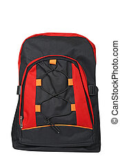 Black and red backpack - A black and red backpack over a...