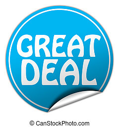 great deal round blue sticker on white background