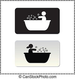 bathtub symbol tag on white background