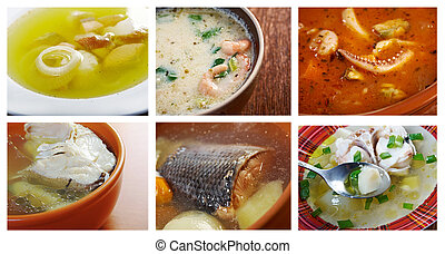 seafoods soups - Food set of different seafoods soups....