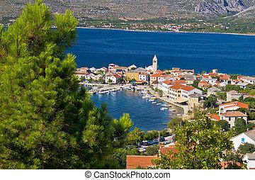 Adriatic town of Vinjerac aerial view
