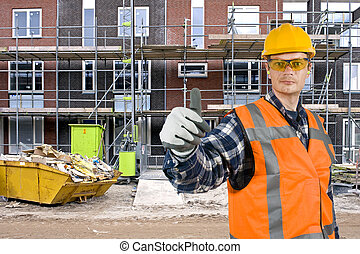 Satisfied construction worker - A satisfied looking...