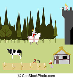 medieval life flat style peasants knight princess vector