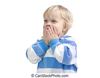 Surprised boy - A 3 year old caucasian boy, covering his...