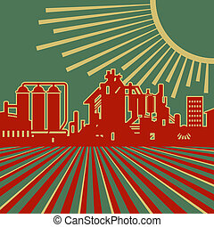 Heyday of heavy industry retro vector illustration