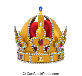 Gold Royal Crown with Jewels isolated on white background....