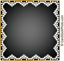 pearl frame - Greeting or invitation card with pearl frame