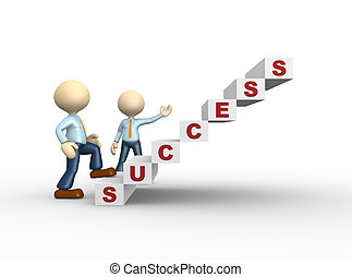 Success - 3d people - man, person climbs the ladder of...